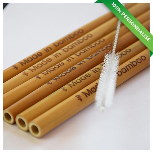 6 pailles en bambou personnalisées