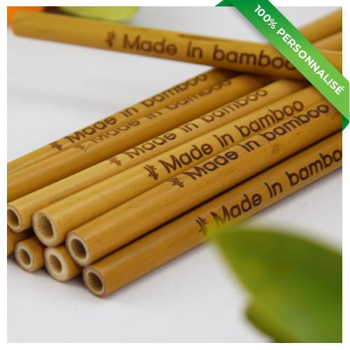 12 pailles en bambou personnalisées