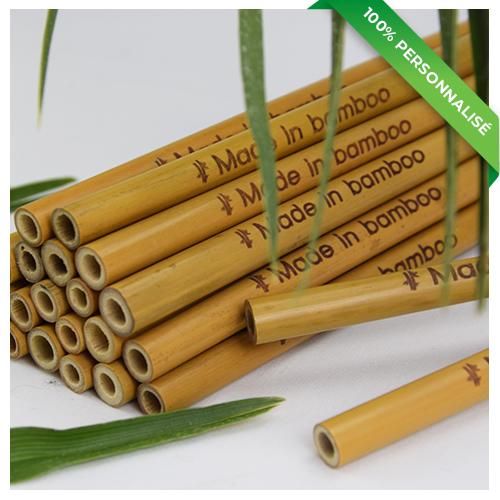 24 pailles en bambou personnalisées