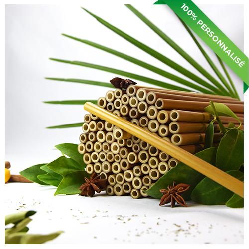 100 pailles en bambou personnalisées