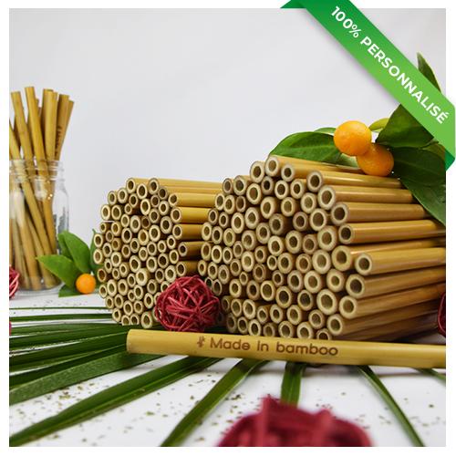 250 pailles en bambou personnalisées