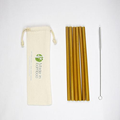 6 pailles en bambou