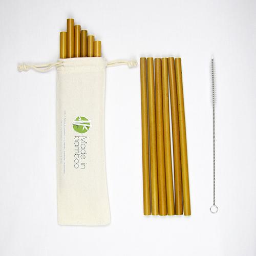12 pailles en bambou
